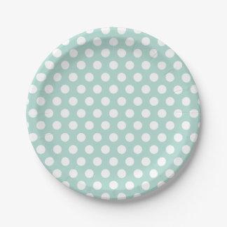Menta y lunares blancos plato de papel de 7 pulgadas