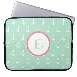 Menta y manga rosa clara del ordenador portátil de mangas portátiles