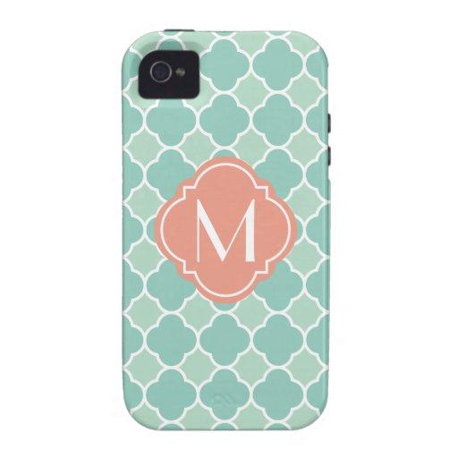 Menta y modelo coralino de Quatrefoil con el Case-Mate iPhone 4 Fundas