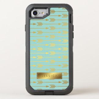 Menta y modelo impreso de las flechas del oro funda OtterBox defender para iPhone 7