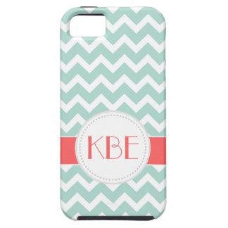 Menta y monograma coralino del personalizado de iPhone 5 Case-Mate protector