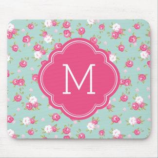 Menta y monograma elegante rosado de la impresión mousepad