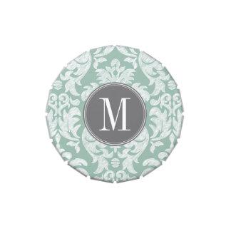 Menta y monograma gris del personalizado del latas de caramelos
