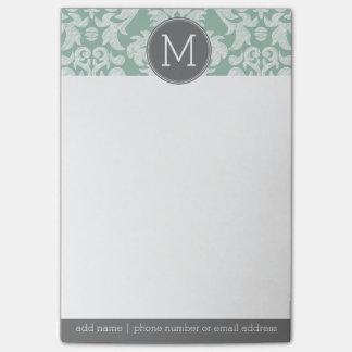 Menta y monograma gris del personalizado del nota post-it®