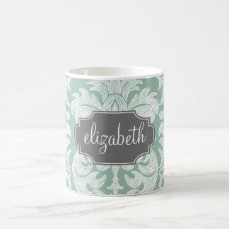 Menta y nombre gris del personalizado del modelo taza básica blanca