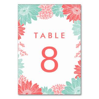 Menta y número floral moderno coralino de la tabla