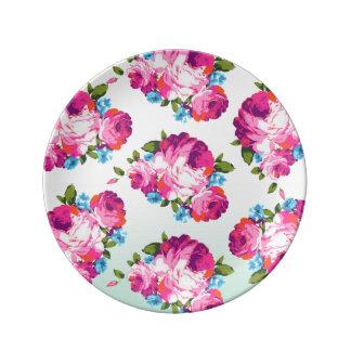 Menta y placa floral rosada de la porcelana de platos de cerámica