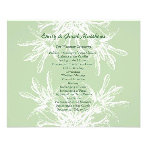 Menta y programa floral blanco del boda tarjetas publicitarias