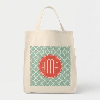 Menta y Quatrefoil coralino con el monograma de en