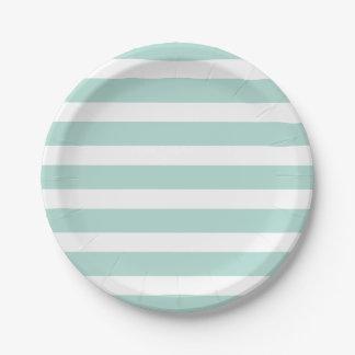 Menta y rayas blancas plato de papel de 7 pulgadas