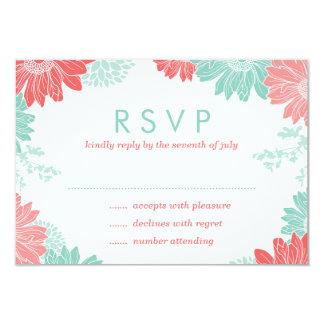 Menta y tarjeta floral moderna coralina de RSVP Anuncios Personalizados