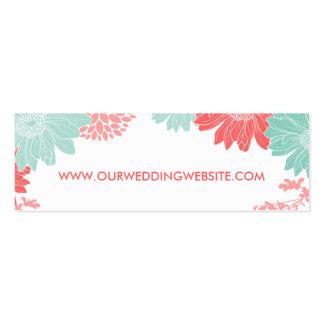 Menta y tarjeta floral moderna coralina del parte  tarjetas de visita
