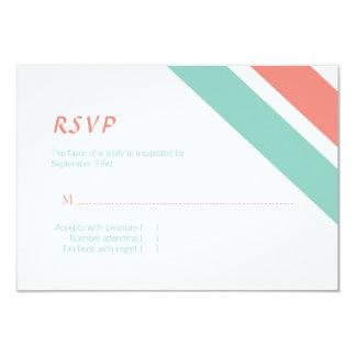 Menta y tarjeta rayada coralina de la respuesta invitación 8,9 x 12,7 cm