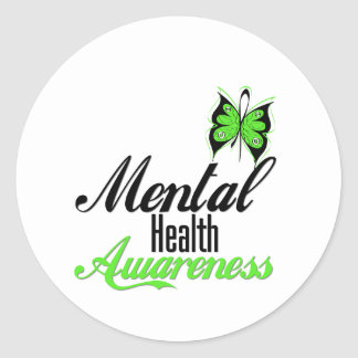 Mental Health Awareness Butterfly Classic Round Sticker