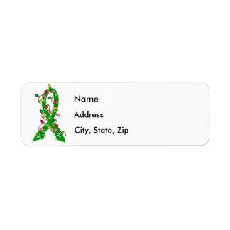 Mental Health Awareness Christmas Lights Ribbon Custom Return Address Labels