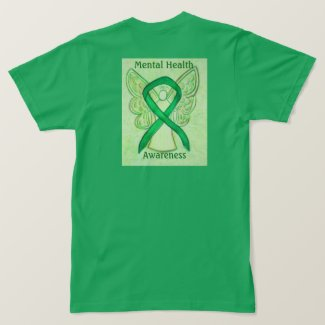 Mental Health Awareness Green Ribbon Angel Tee