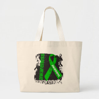Mental Health Awareness Grunge Ribbon Large Tote Bag