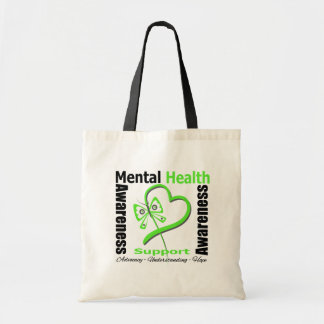 Mental Health Awareness Heart Butterfly Ribbon Budget Tote Bag