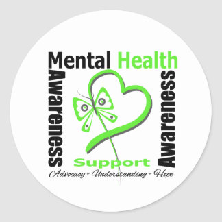 Mental Health Awareness Heart Butterfly Ribbon Classic Round Sticker