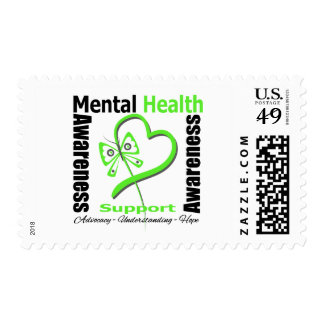 Mental Health Awareness Heart Butterfly Ribbon Postage Stamps