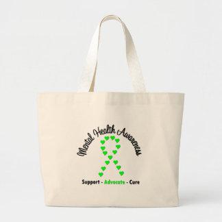 Mental Health Awareness Heart Ribbon Canvas Bag