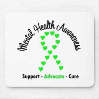Mental Health Awareness Heart Ribbon Mouse Pad