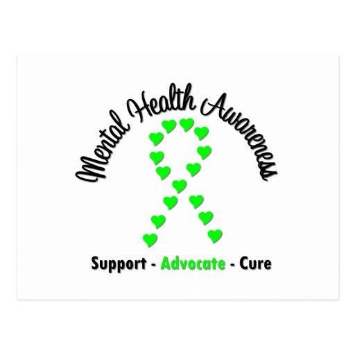 Mental Health Awareness Heart Ribbon Post Cards