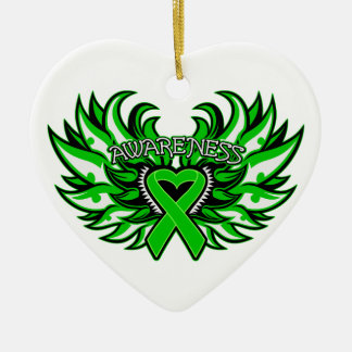 Mental Health Awareness Heart Wings Ornaments