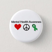 Mental Health Awareness - Love, Peace, Awareness Pinback Button