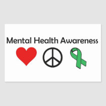 Mental Health Awareness - Love, Peace, Awareness Rectangular Sticker