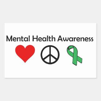 Mental Health Awareness - Love, Peace, Awareness Rectangular Sticker