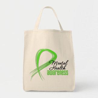 Mental Health Awareness Ribbon Grocery Tote Bag
