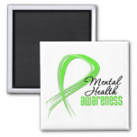 Mental Health Awareness Ribbon 2 Inch Square Magnet