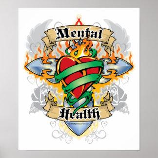 Mental Health Cross & Heart Posters