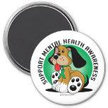 Mental Health Dog 3 Inch Round Magnet