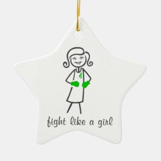 Mental Health Fight Like A Girl (Retro) Christmas Tree Ornaments