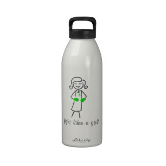 Mental Health Fight Like A Girl (Retro) Reusable Water Bottles