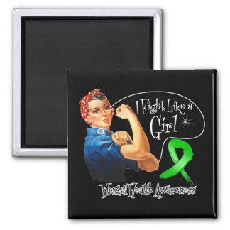 Mental Health Fight Like a Girl Rosie The Riveter Fridge Magnets