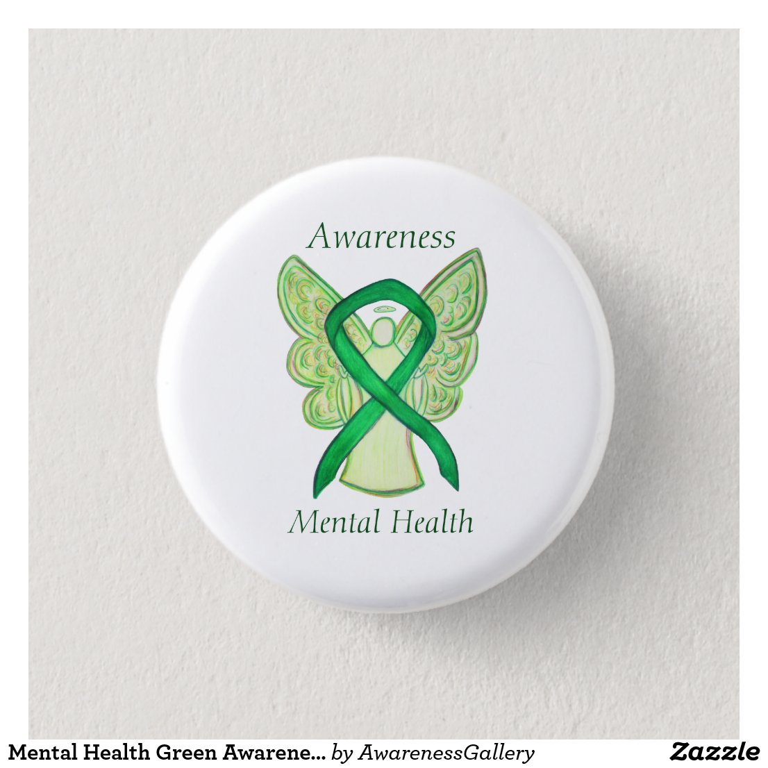 Mental Health Green Awareness Ribbon Angel Pin