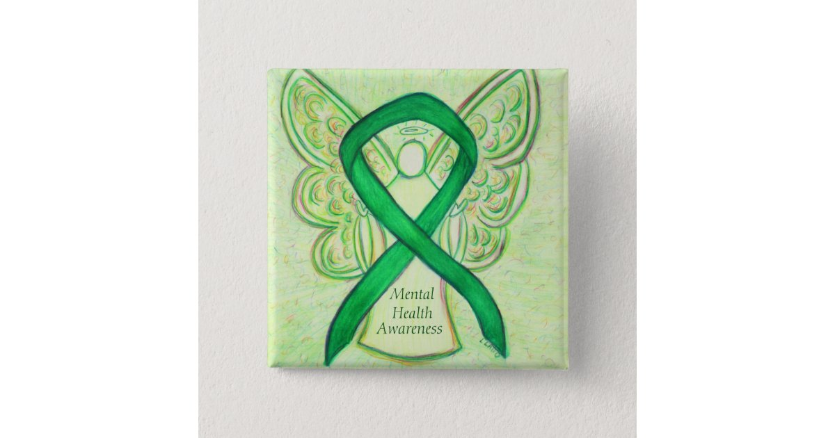 Mental Health Green Awareness Ribbon Angel Pin Zazzle