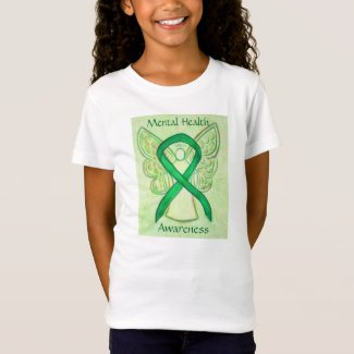 Mental Health Green Awareness Ribbon Angel Shirt