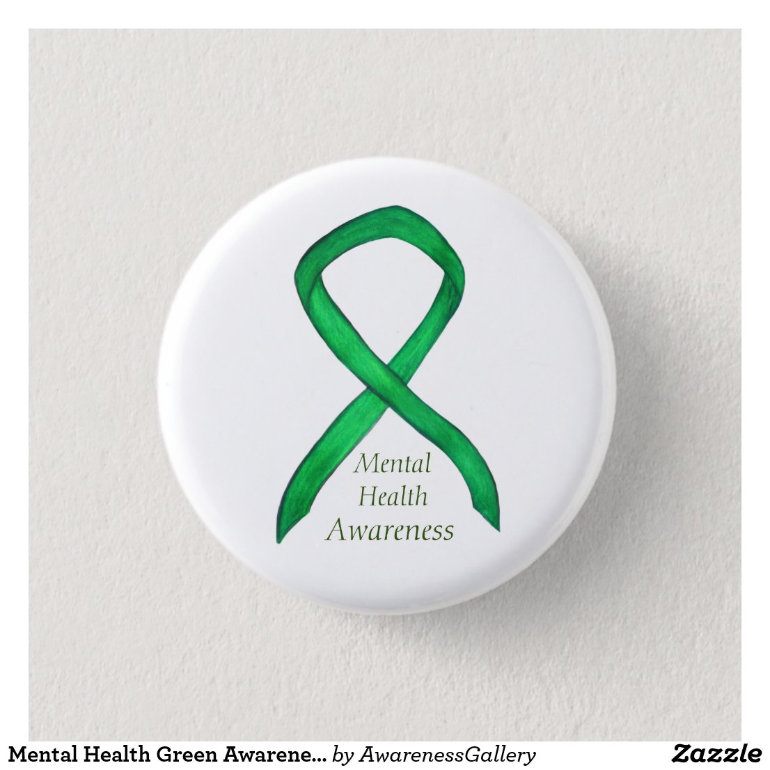 Mental Health Green Awareness Ribbon Button Pins