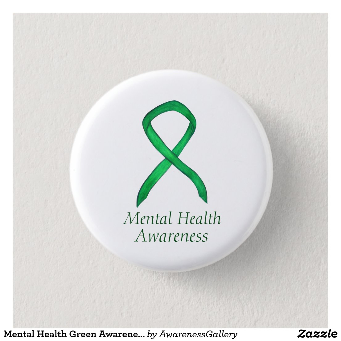 Mental Health Green Awareness Ribbon Custom Pin