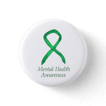 Mental Health Green Awareness Ribbon Custom Pin
