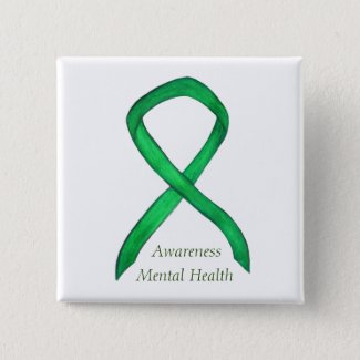 Mental Health Green Awareness Ribbon Pin Buttons