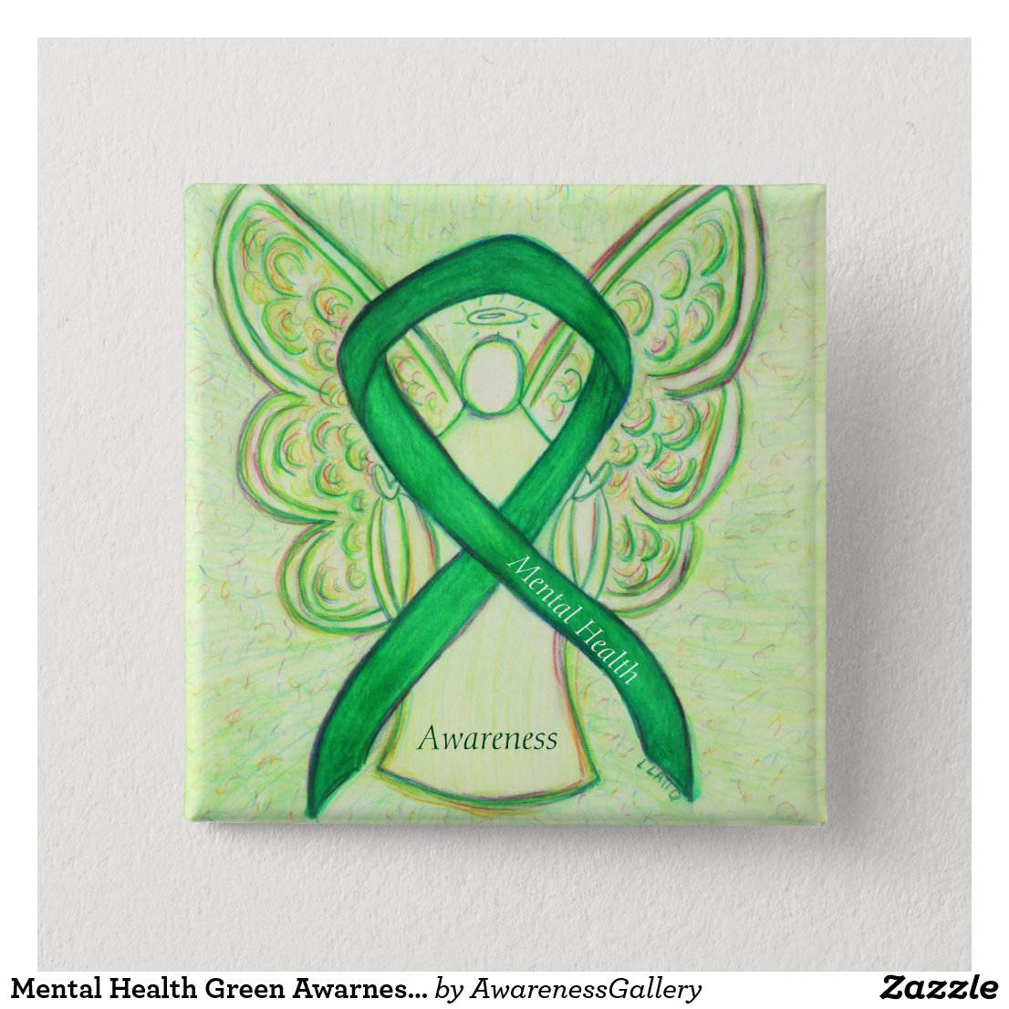 Mental Health Green Awarness Ribbon Angel Pin