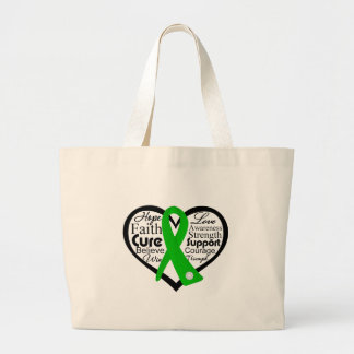 Mental Health Heart Ribbon Collage Large Tote Bag