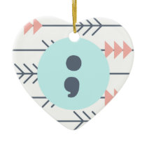 Mental Health Heart-Semicolon-Recovery-Support Ceramic Ornament