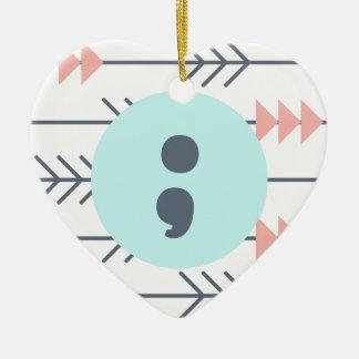 Mental Health Heart-Semicolon-Recovery-Support Ceramic Ornament