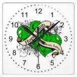 Mental Health Hope Faith Dual Hearts Square Wall Clocks